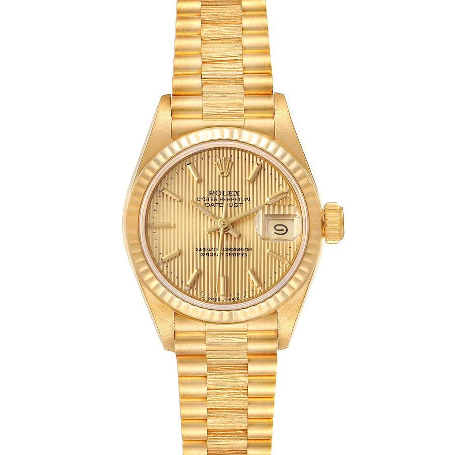 Rolex President Datejust 18K Yellow Gold Tapestry Dial Ladies Watch 69178 SwissWatchExpo
