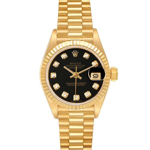 Photo of Rolex President Datejust Yellow Gold Black Diamond Dial Ladies Watch 69178