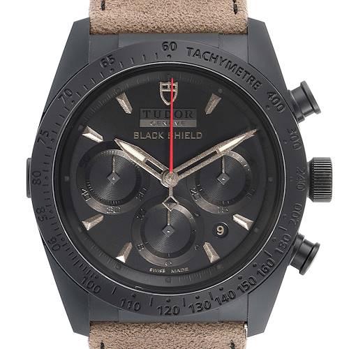 Photo of Tudor Fastrider Black Shield Alcantara Strap Mens Watch 42000CN Box Card