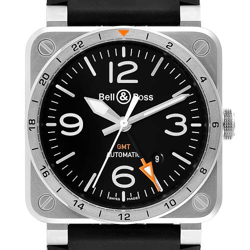 Photo of Bell & Ross Aviation GMT Black Dial Steel Mens Watch BR0393 Box Card