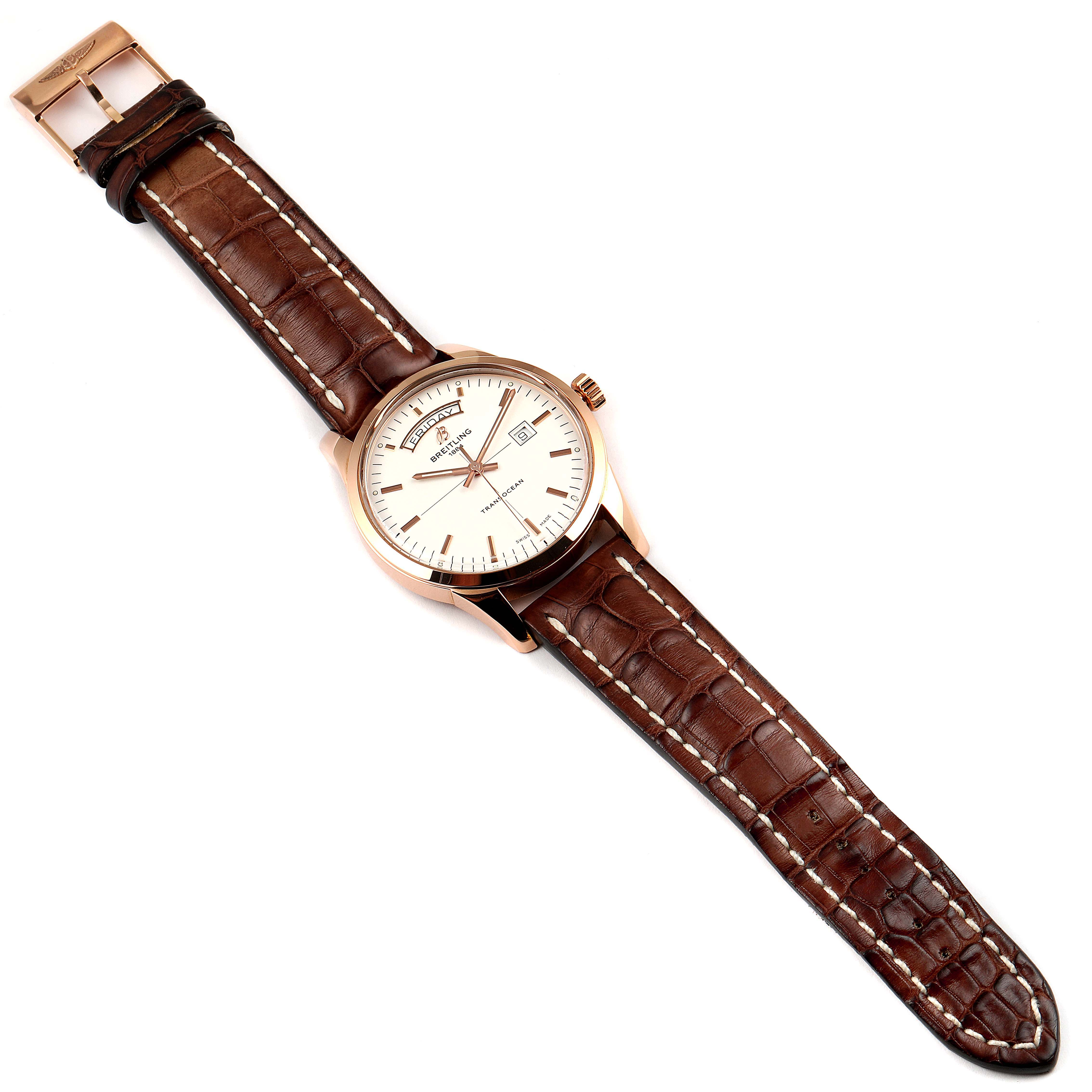 Breitling Transocean Day Date Rose Gold Mens Watch R45310 Box Papers SwissWatchExpo