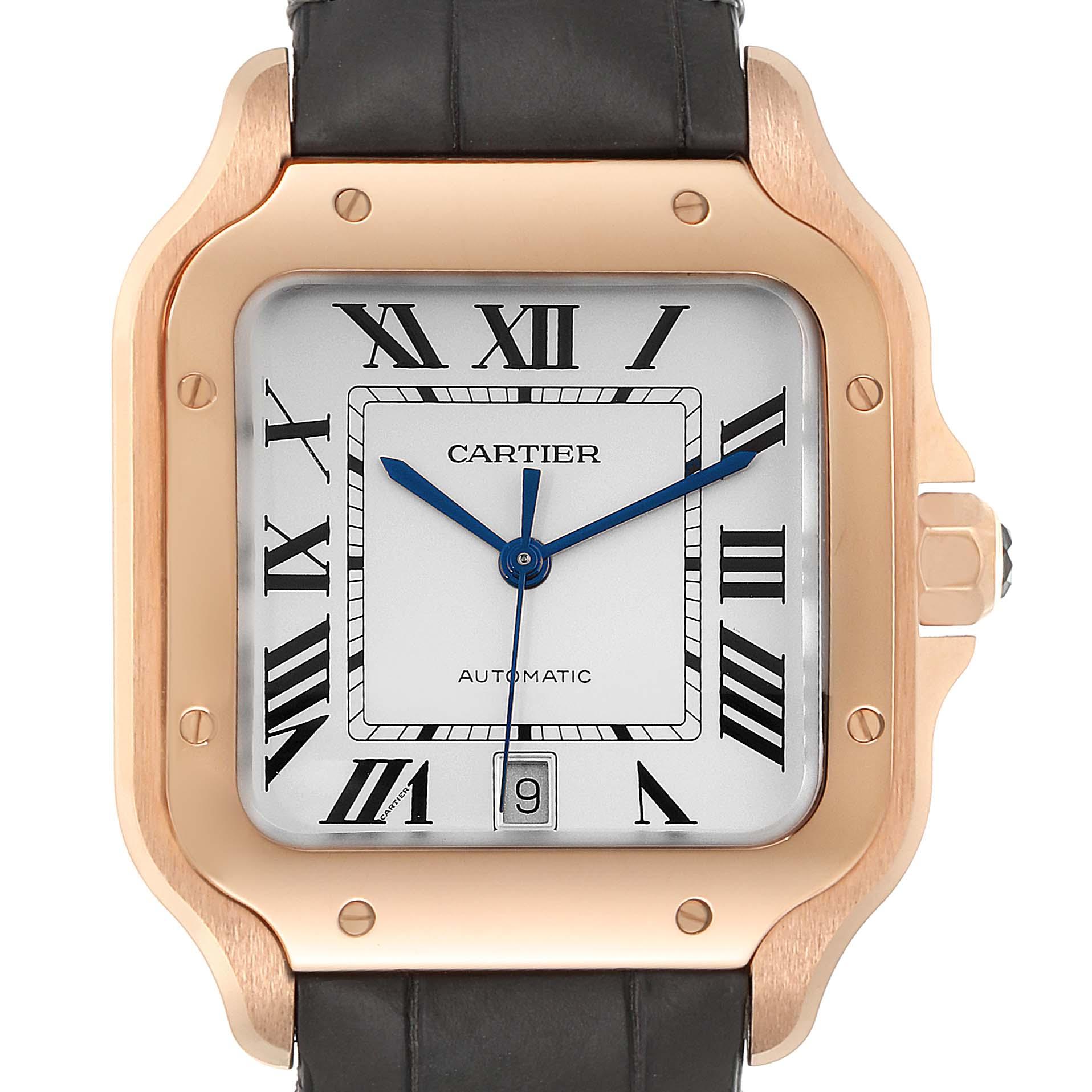 Santos de Cartier Rose Gold Silver Dial Mens Watch WGSA0011 Unworn SwissWatchExpo