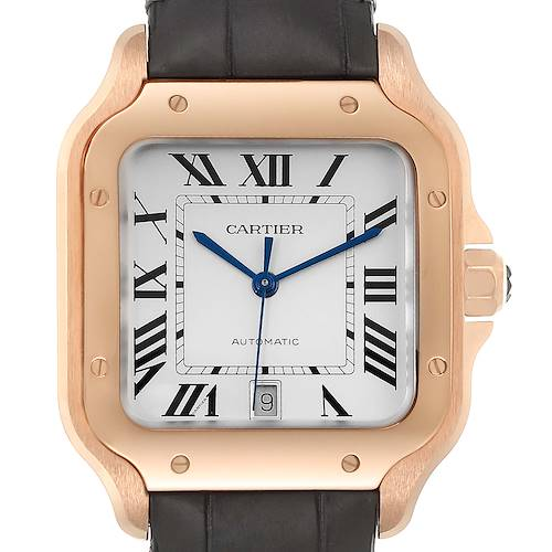 Photo of Cartier Santos 100 XL Rose Gold Silver Dial Mens Watch WGSA0007 Unworn