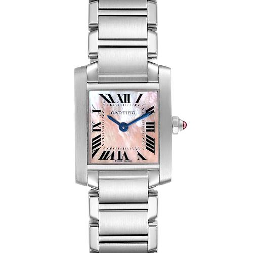 Photo of Cartier Tank Francaise Pink Mother of Pearl Steel Watch W51028Q3 Box Papers