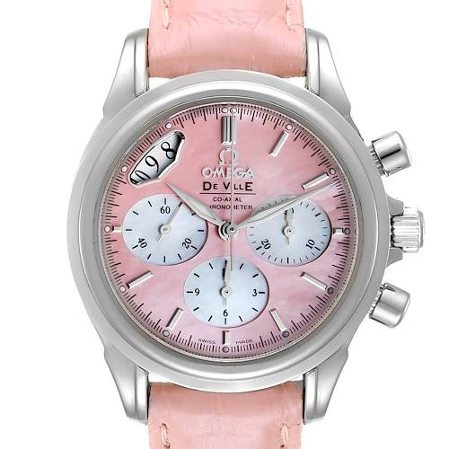 Omega DeVille Pink Mother of Pearl Dial Steel Ladies Watch 4877.60.37 Card