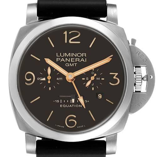 Photo of Panerai Luminor 1950 8 Days GMT 24H Titanium Watch PAM00656 Box Papers