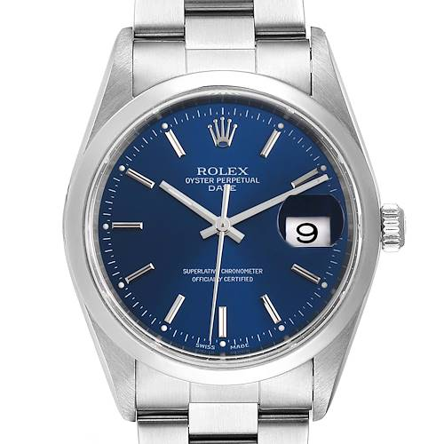 Photo of Rolex Date Blue Dial Oyster Bracelet Steel Mens Watch 15200