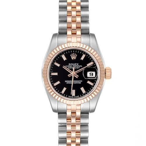 Photo of Rolex Datejust Steel Everose Gold Ladies Watch 179171 Box Card