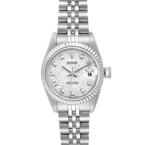 Photo of Rolex Datejust Steel White Gold Silver Diamond Dial Ladies Watch 69174