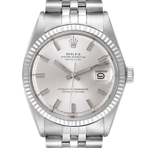 Photo of Rolex Datejust Steel White Gold Silver Wide Boy Dial Vintage Mens Watch 1601