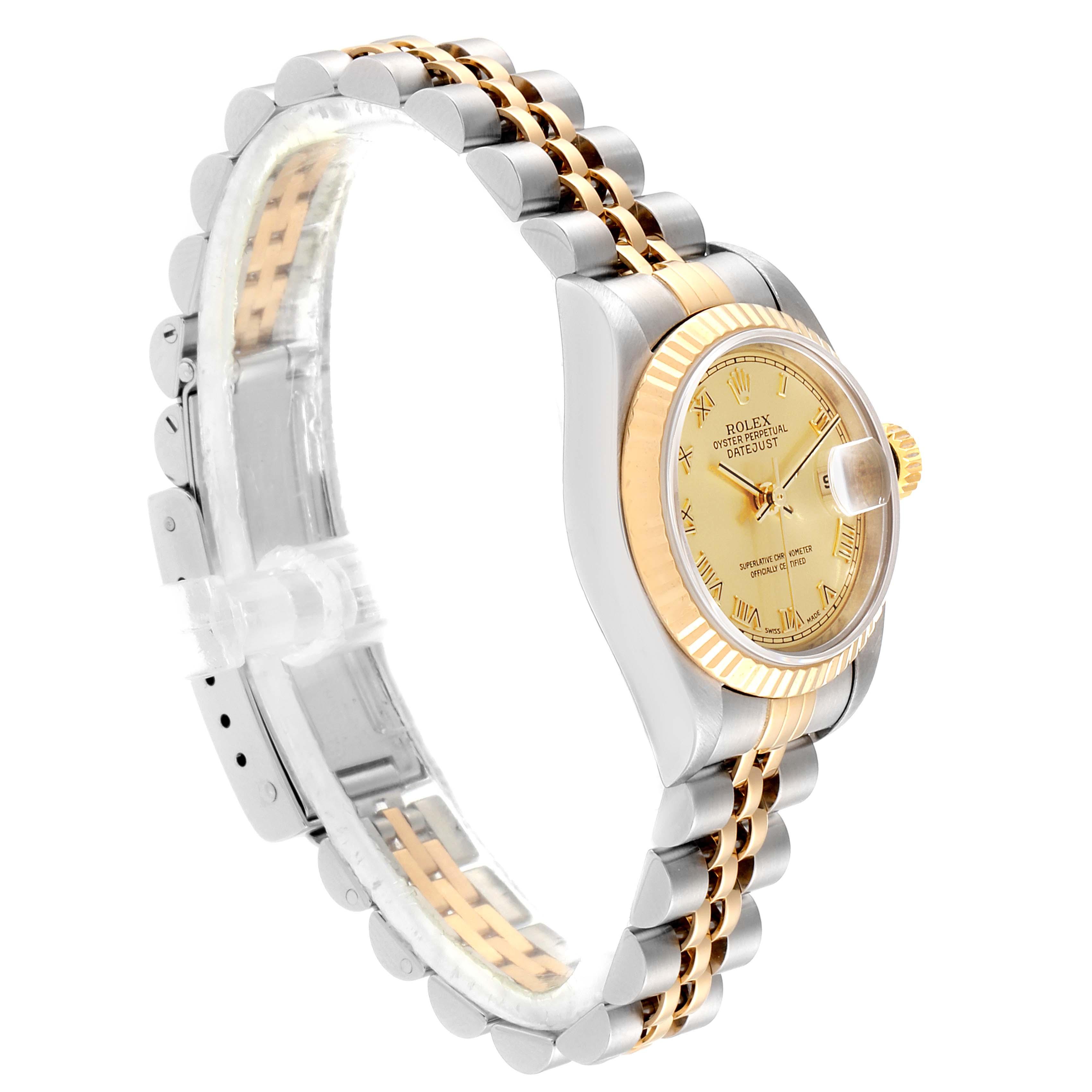 Rolex Datejust Steel Yellow Gold Champagne Roman Dial Ladies Watch 69173 SwissWatchExpo