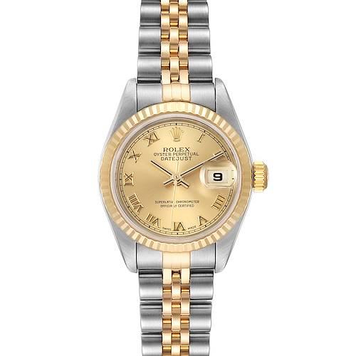 Photo of Rolex Datejust Steel Yellow Gold Champagne Roman Dial Ladies Watch 69173