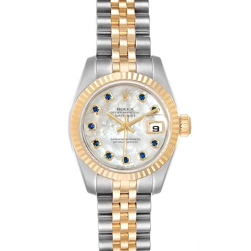 Photo of Rolex Datejust Steel Yellow Gold MOP Saphire Ladies Watch 179173