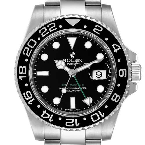 Photo of Rolex GMT Master II Black Dial Bezel Steel Mens Watch 116710 Box Card