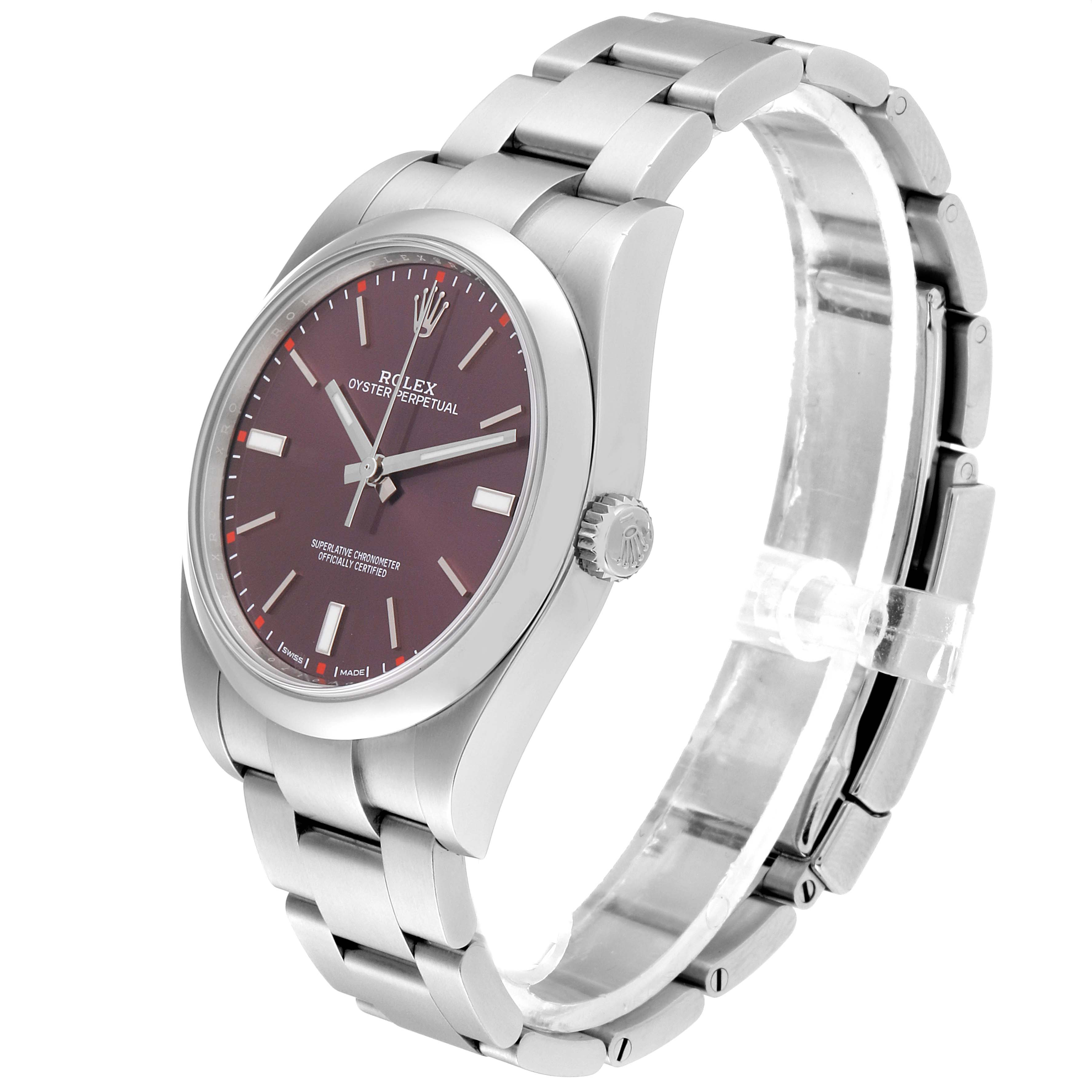 Rolex Oyster Perpetual 39 Red Grape Dial Steel Mens Watch 114300 SwissWatchExpo