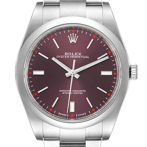 Photo of Rolex Oyster Perpetual 39 Red Grape Dial Steel Mens Watch 114300