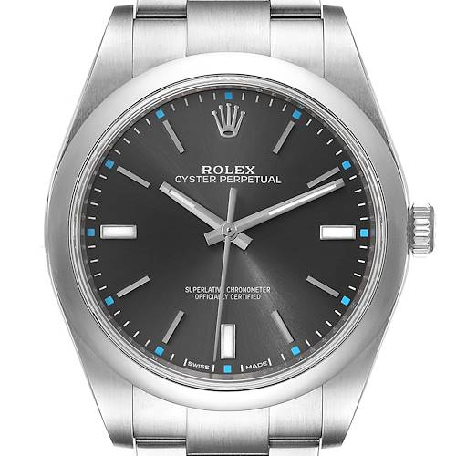 Photo of Rolex Oyster Perpetual 39 Rhodium Dial Steel Mens Watch 114300 Box Card