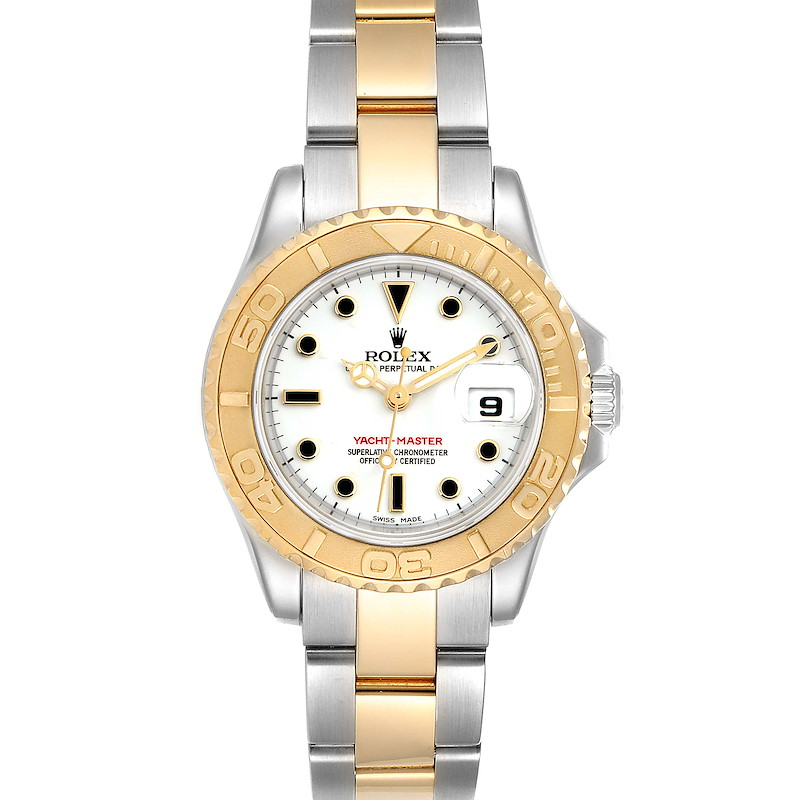 Rolex Yachtmaster 29 Steel Yellow Gold White Dial Ladies Watch 169623 SwissWatchExpo
