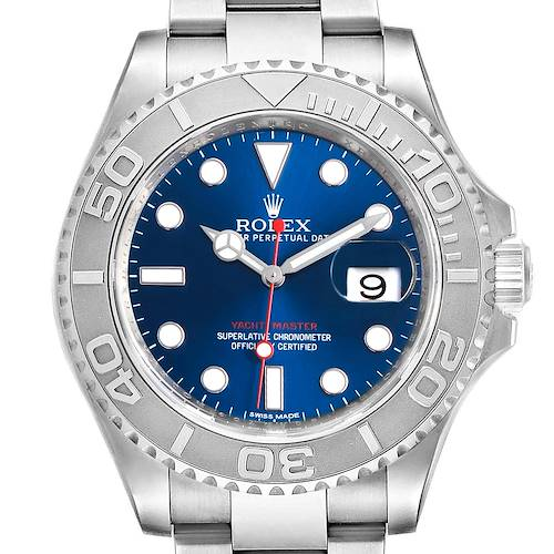 Photo of Rolex Yachtmaster 40mm Steel Platinum Blue Dial Mens Watch 116622 Box Papers