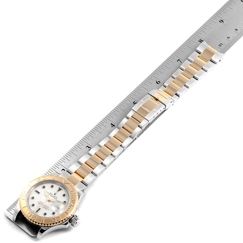 Rolex Yachtmaster White Dial Steel Yellow Gold Mens Watch 16623 SwissWatchExpo