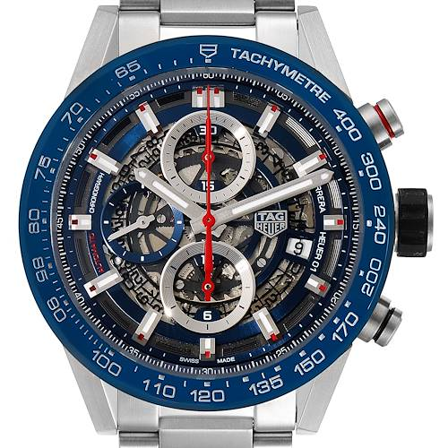 Photo of Tag Heuer Carrera Blue Skeleton Dial Chronograph Mens Watch CAR201T Box Card