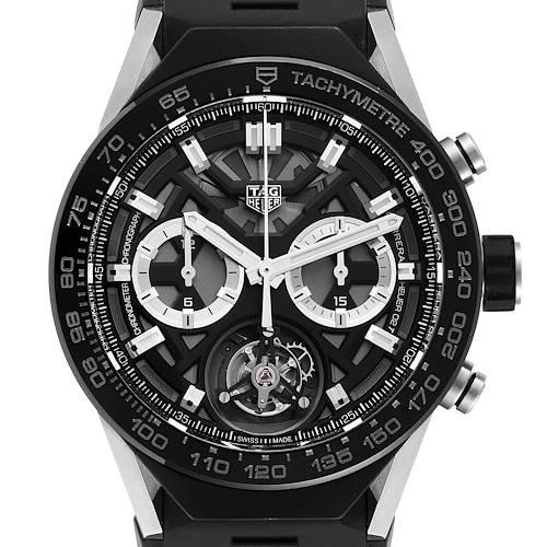 Photo of Tag Heuer Carrera Tourbillon Chronograph Titanium Watch ACBF5A80 Box Card