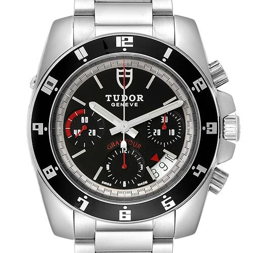 Photo of Tudor Grantour Black Dial Chronograph Steel Mens Watch 20350N Card