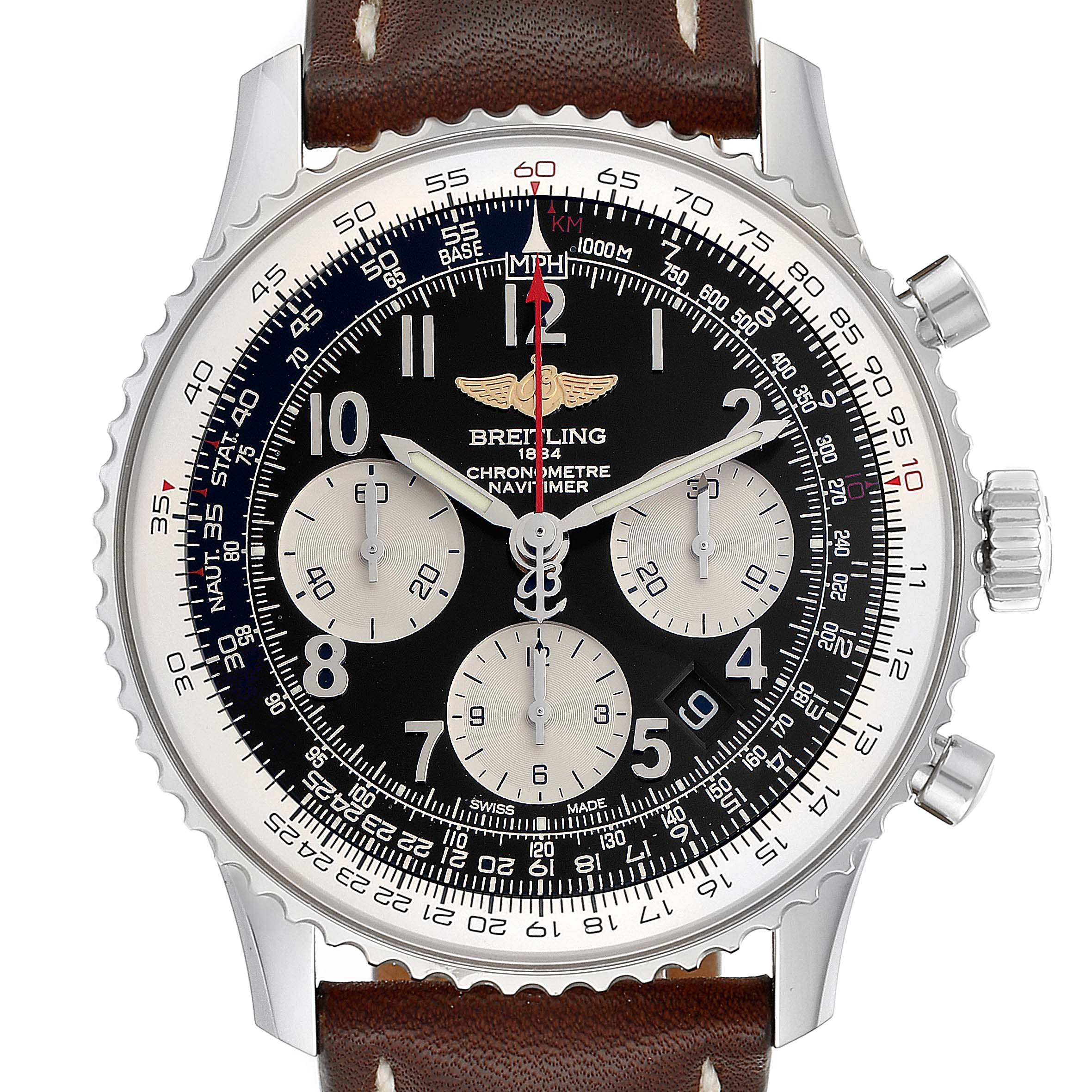 Photo of Breitling Navitimer 01 Black Dial Steel Mens Watch AB0120 Box Papers