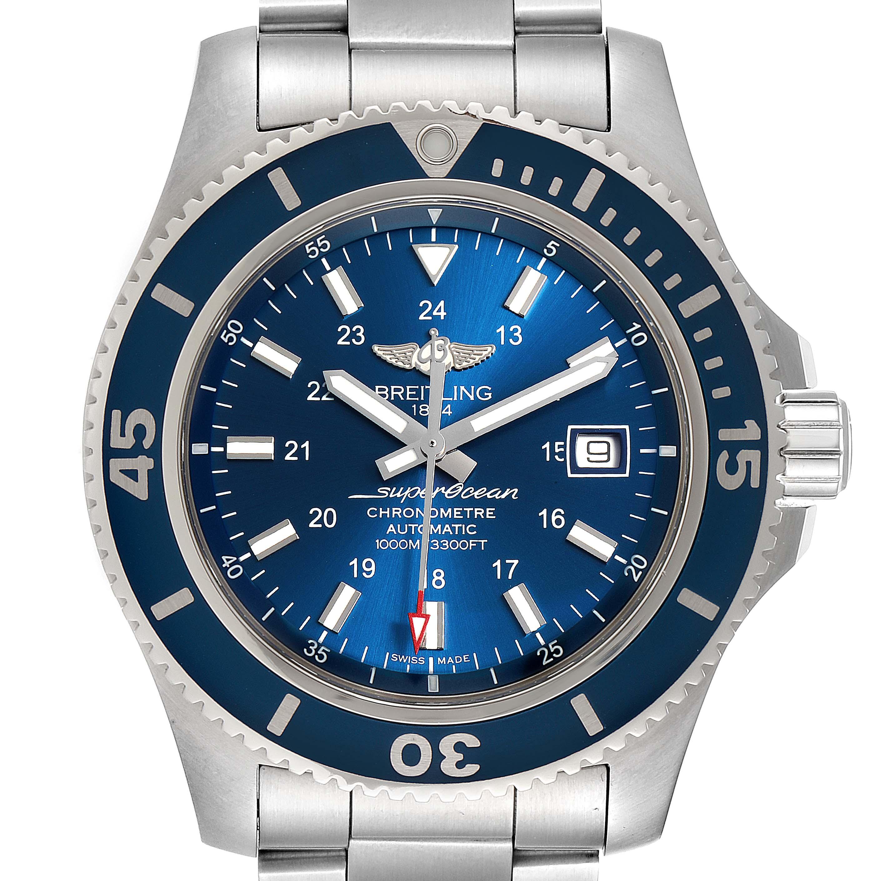 Photo of Breitling Superocean II 44 Gun Blue Dial Mens Watch A17392 Box Card