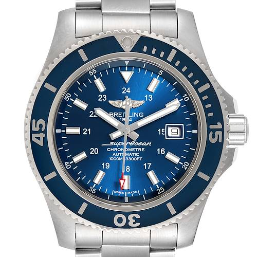 Breitling Superocean II 44 Gun Blue Dial Mens Watch A17392 Box Papers
