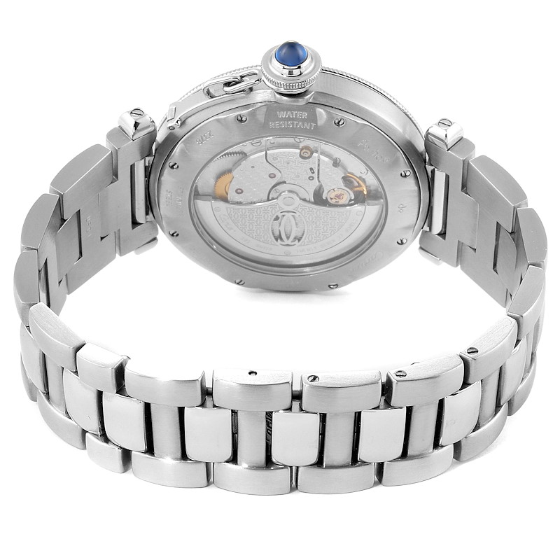 Cartier Pasha 38mm Silver Dial Automatic Steel Mens Watch W31059H3 SwissWatchExpo