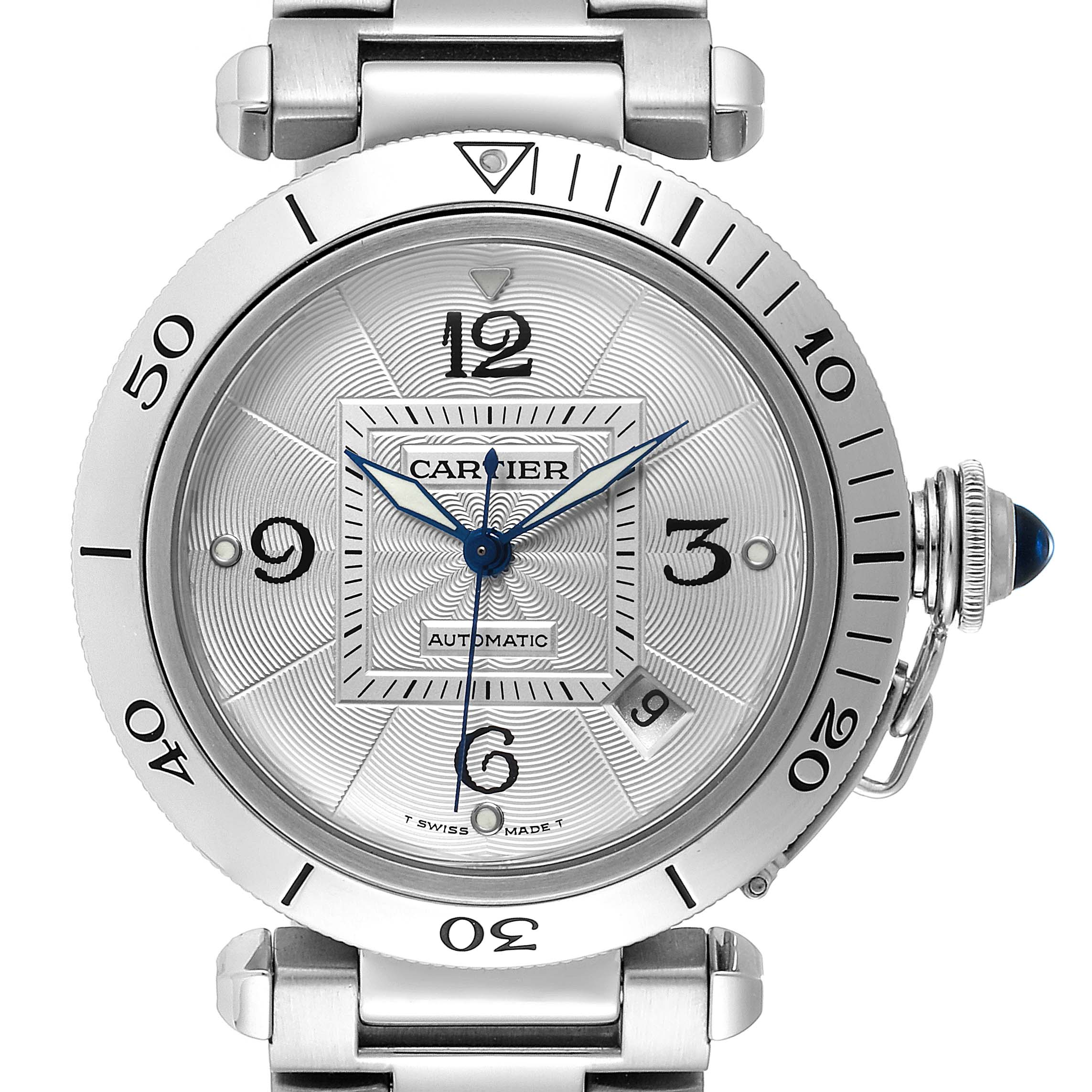 Photo of Cartier Pasha 38mm Silver Dial Automatic Steel Mens Watch W31059H3