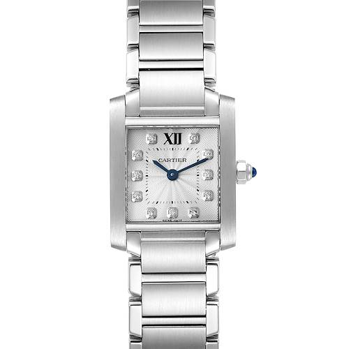 Photo of Cartier Tank Francaise Steel Diamond Small Ladies Watch WE110006 Box Card