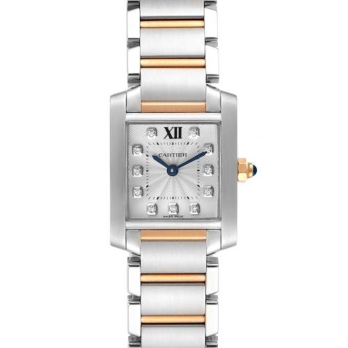 Photo of Cartier Tank Francaise Steel Rose Gold Diamond Watch WE110004 Box Papers