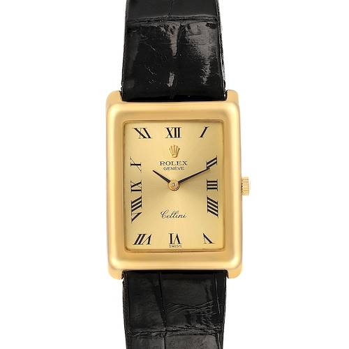 Photo of Rolex Cellini 18k Yellow Gold Champagne Dial Black Strap Ladies Watch 4103