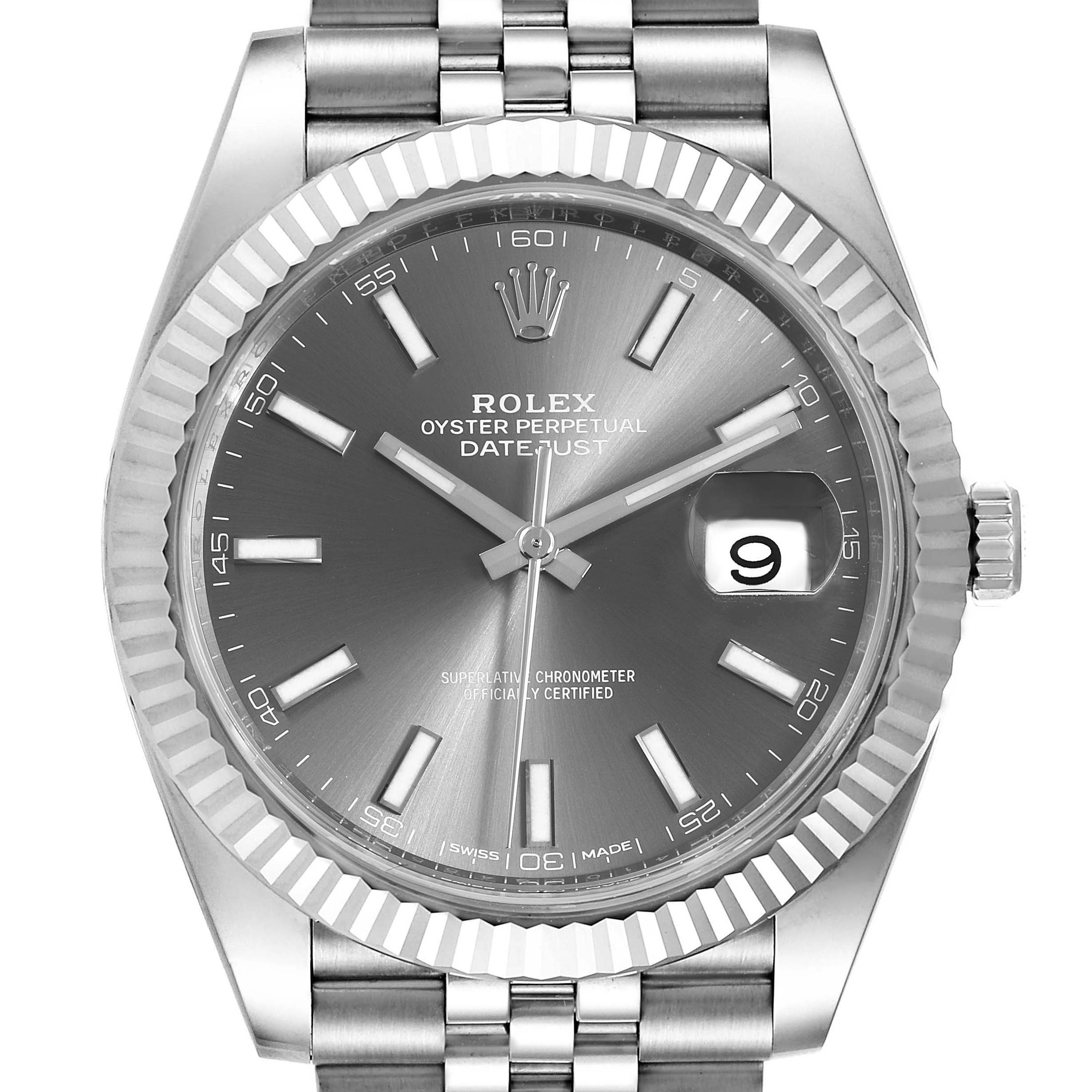 Photo of Rolex Datejust 41 Steel White Gold Rhodium Dial Watch 126334 Box Card