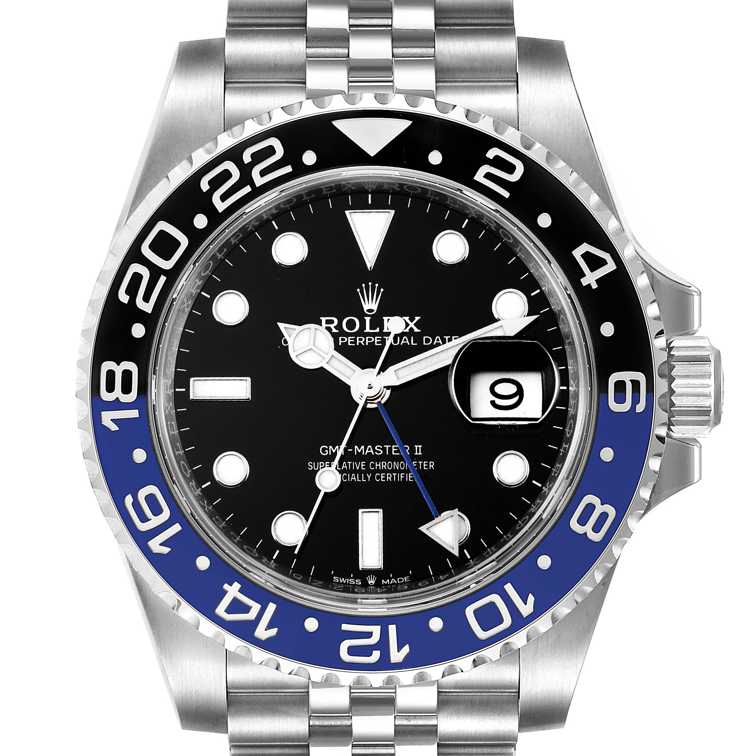 Photo of Rolex GMT Master II Black Blue Batman Jubilee Steel Watch 126710 Unworn