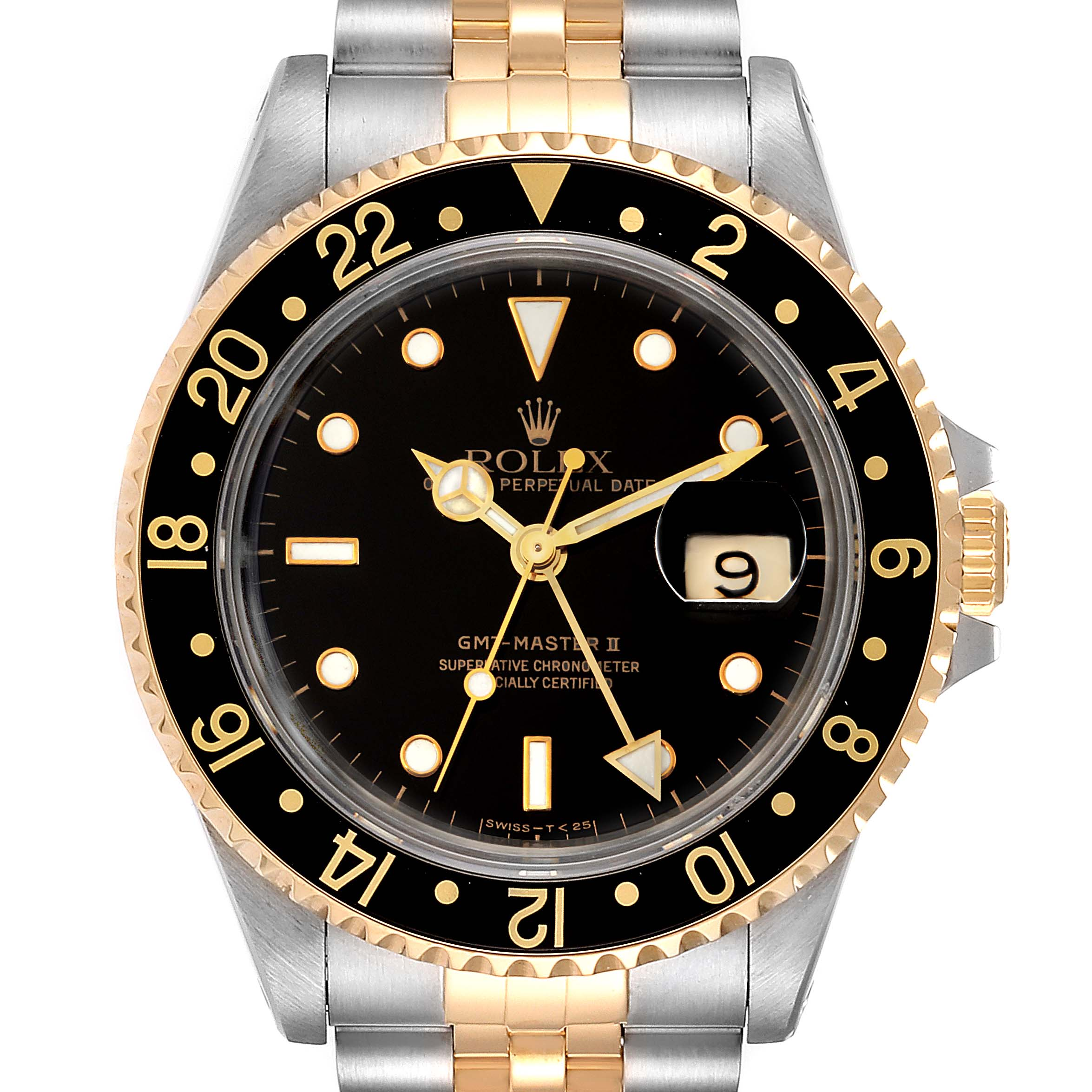 Photo of Rolex GMT Master II Yellow Gold Steel Jubilee Bracelet Mens Watch 16713