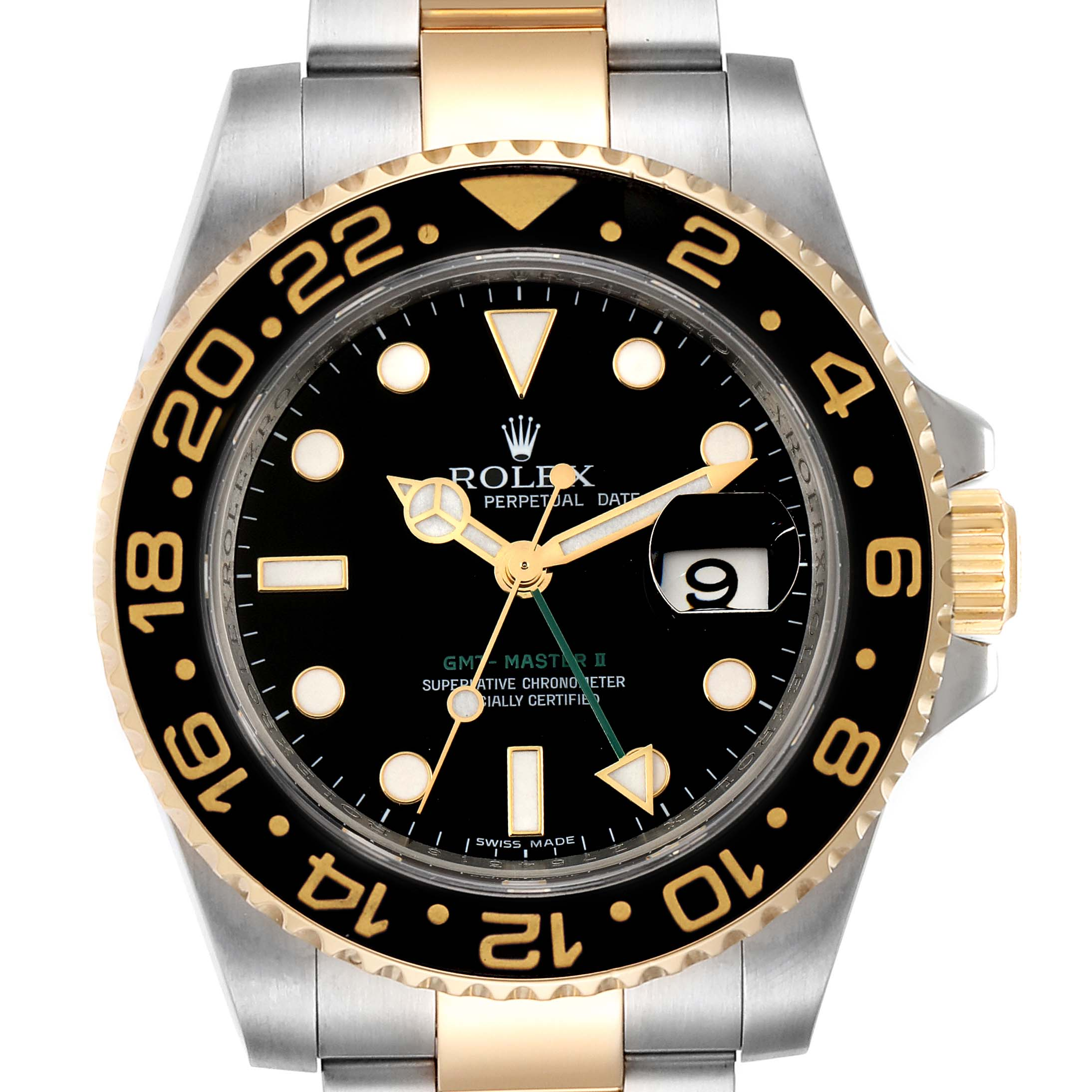 Photo of Rolex GMT Master II Yellow Gold Steel Mens Watch 116713 Box Papers