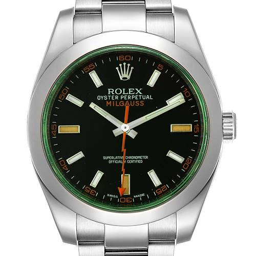 Photo of Rolex Milgauss Black Dial Green Crystal Steel Mens Watch 116400GV
