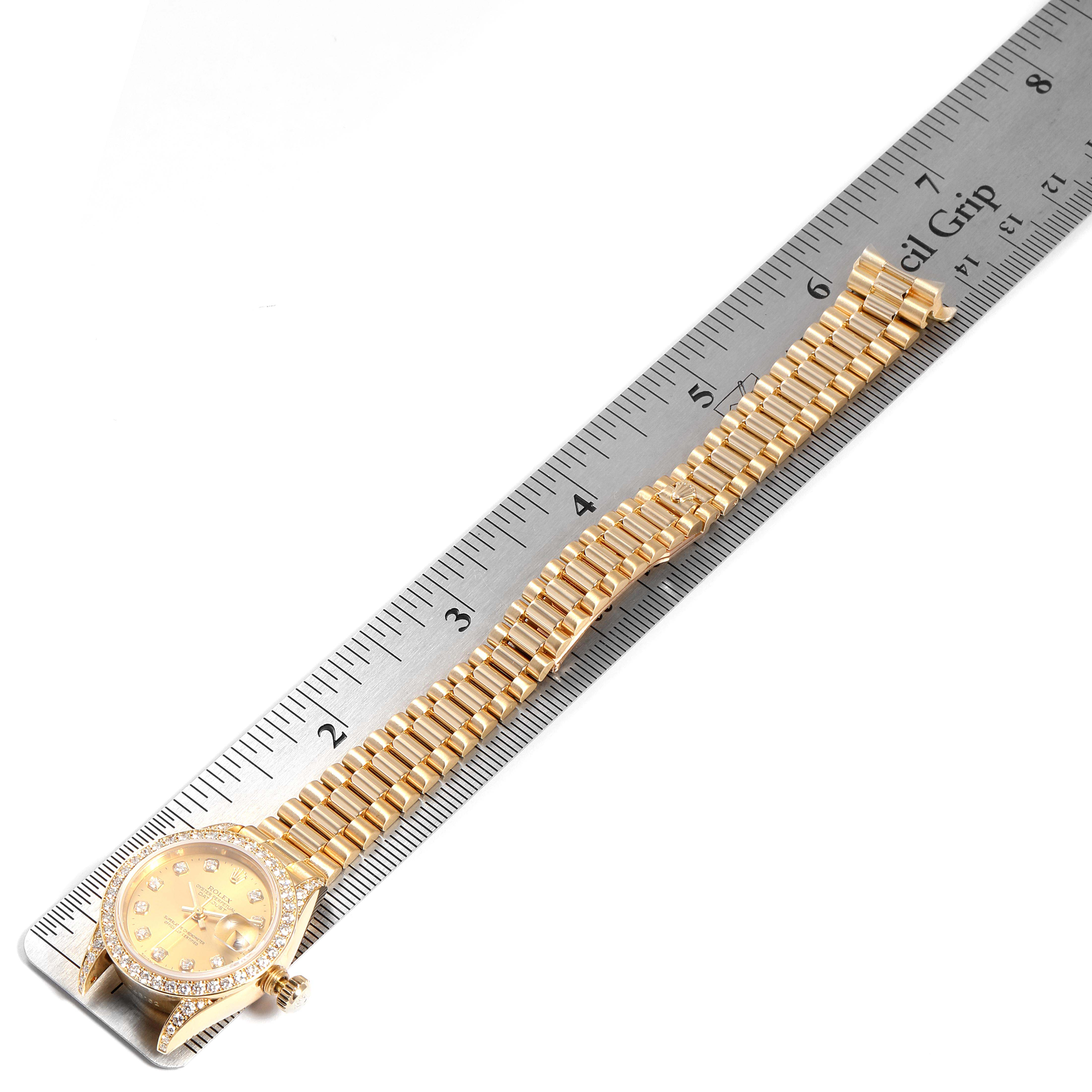 Rolex President Datejust 26mm Yellow Gold Diamond Ladies Watch 69158 SwissWatchExpo