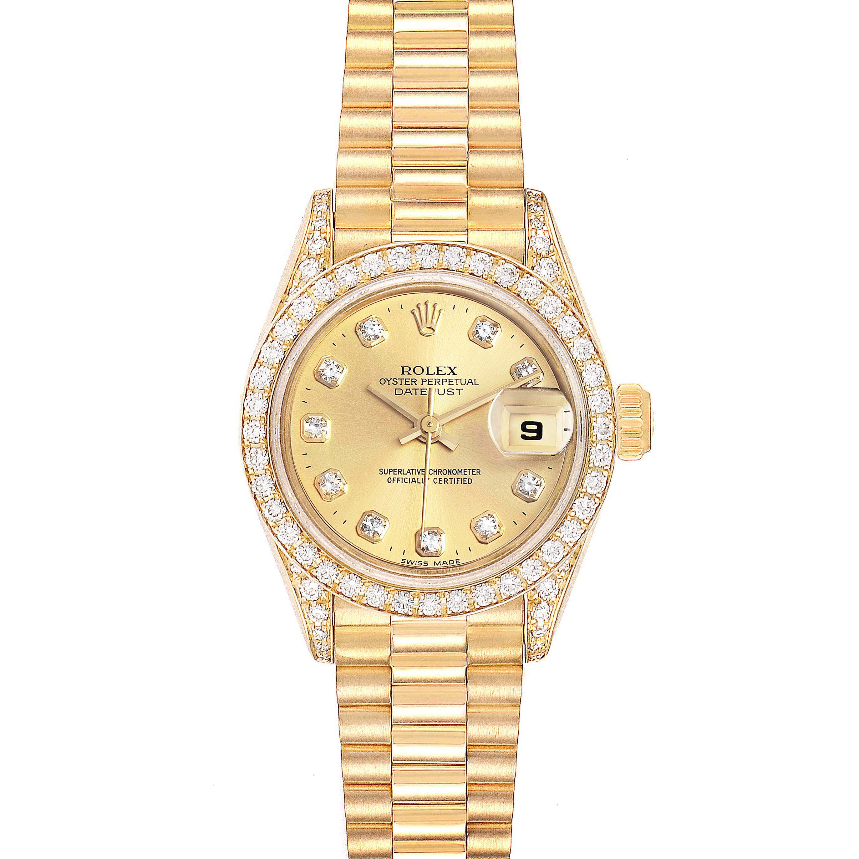 Photo of Rolex President Datejust 26mm Yellow Gold Diamond Ladies Watch 69158