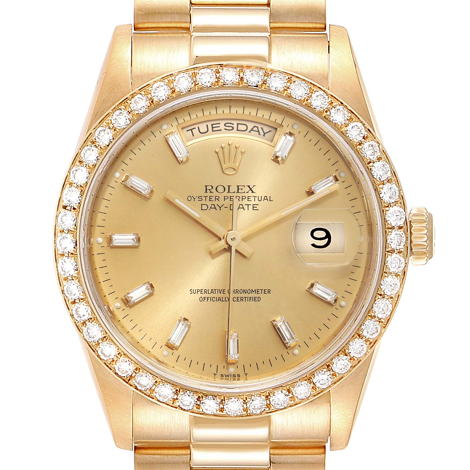 Photo of Rolex President Day Date 36mm Yellow Gold Diamond Mens Watch 18348