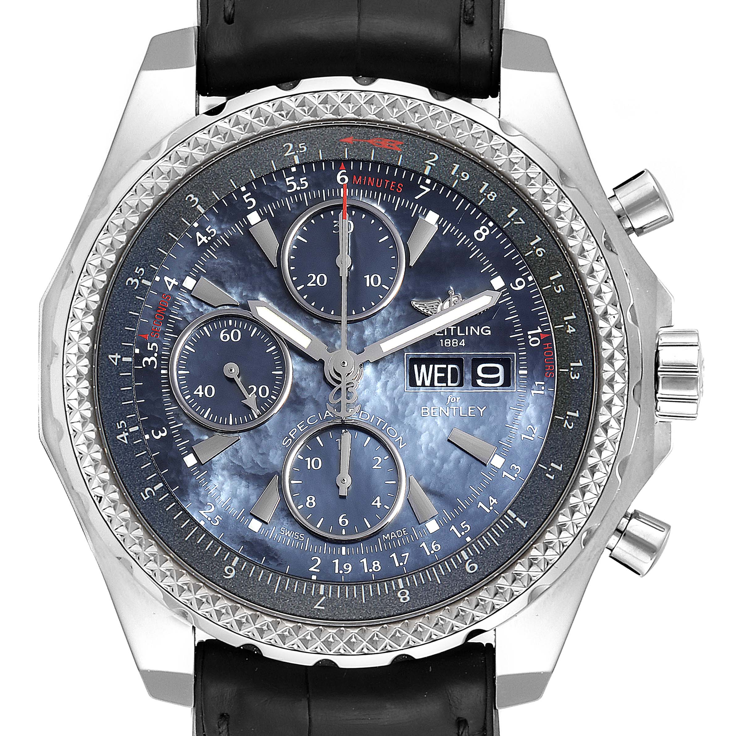 Photo of Breitling Bentley Motors GT Blue Mother of Pearl Dial Mens Watch A13362