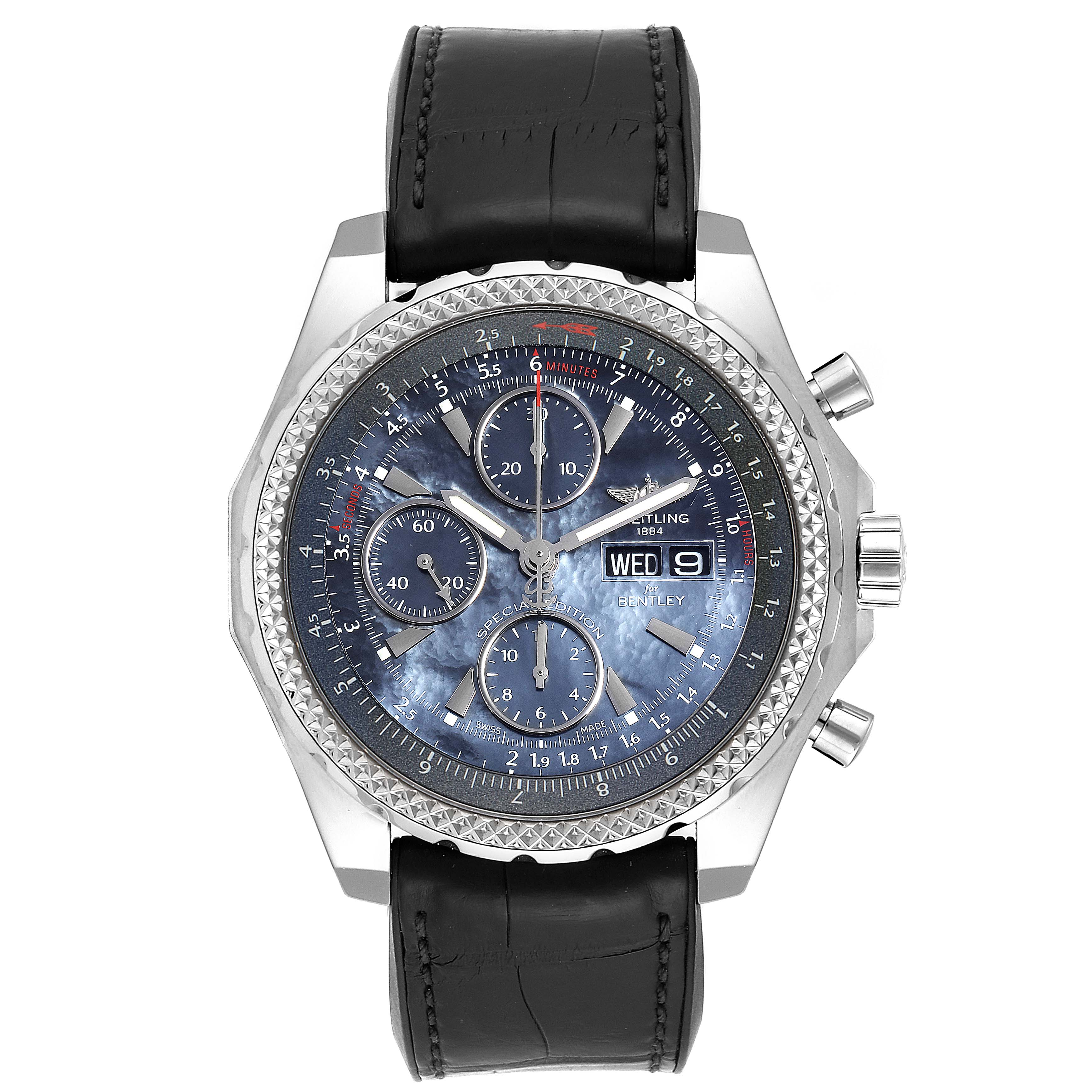 Breitling Bentley Motors GT Blue Mother of Pearl Dial Mens Watch A13362 SwissWatchExpo