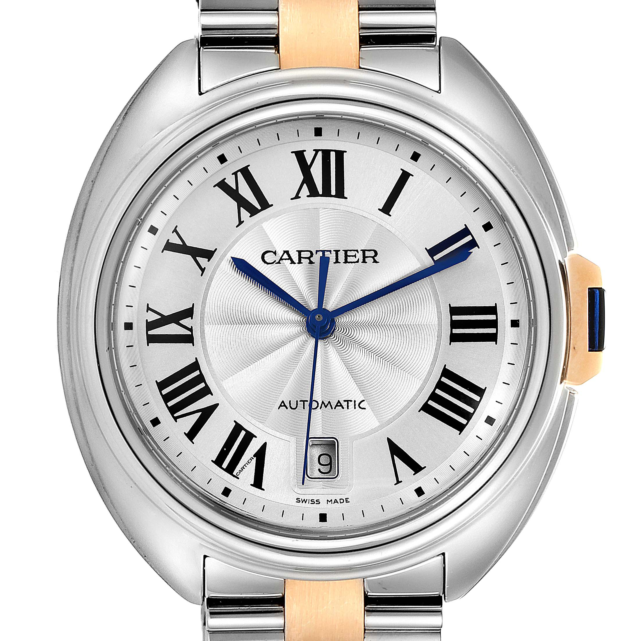 Photo of Cartier Cle 40 Steel Rose Gold Silver Dial Mens Watch W2CL0002