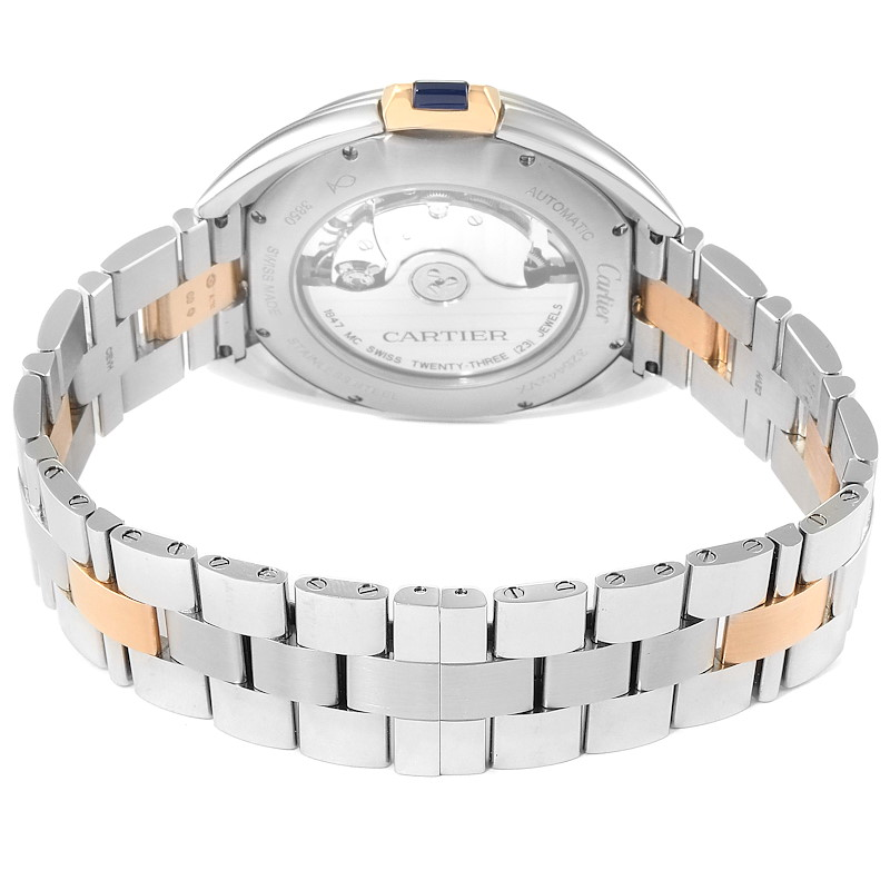 Cartier Cle 40 Steel Rose Gold Silver Dial Mens Watch W2CL0002 SwissWatchExpo