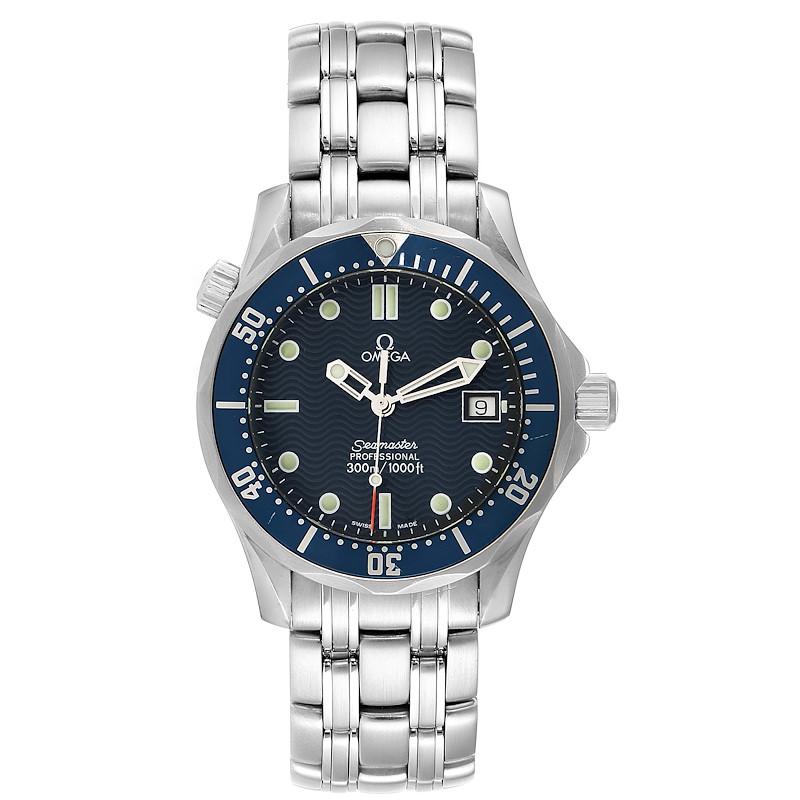 Omega Seamaster James Bond 36 Midsize Blue Wave Dial Watch 2561.80.00 SwissWatchExpo