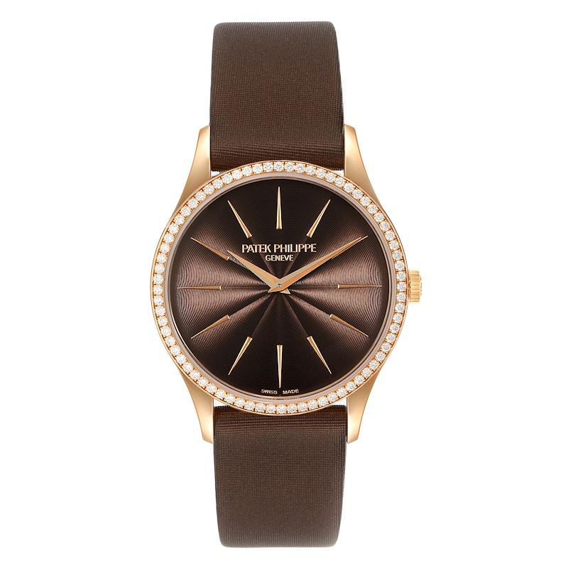 Patek Philippe Calatrava Rose Gold Brown Dial Diamond Ladies Watch 4897R Unworn SwissWatchExpo