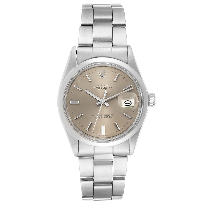 Rolex Date Grey Dial Domed Bezel Vintage Mens Watch 1500 SwissWatchExpo